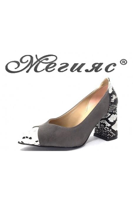 1100 Дамски обувки сив велур и еко кожа със змийска шарка