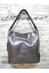 2028 Дамска чанта графит от естествена кожа