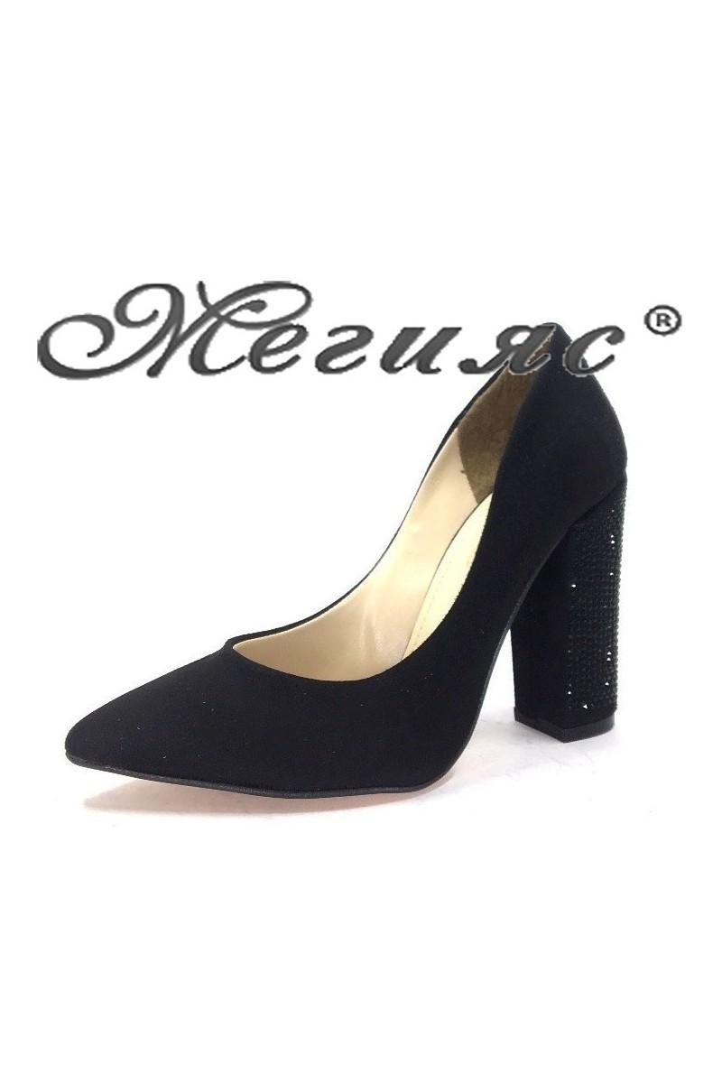 0542 Women elegant shoes black sued