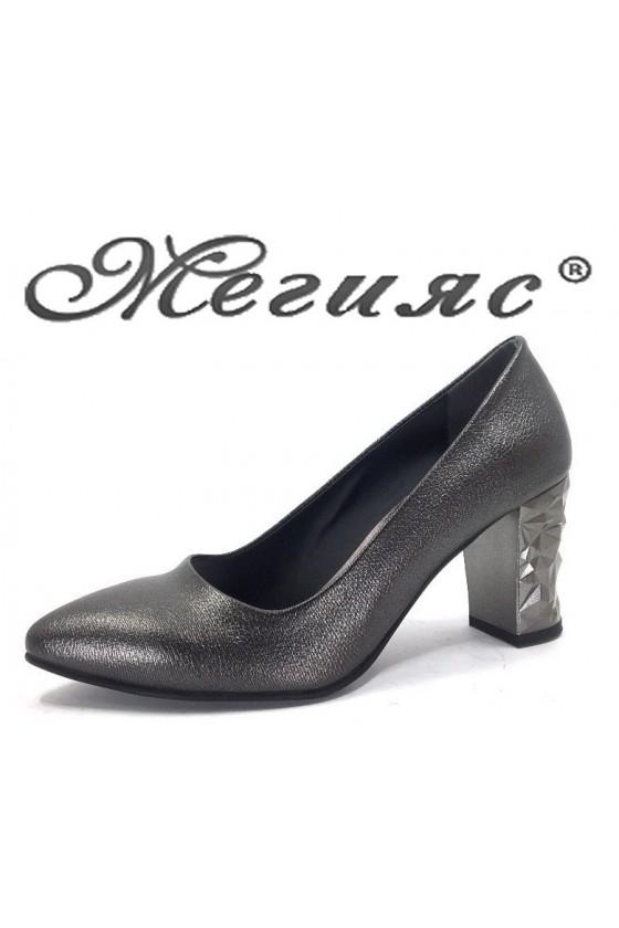 11-933 Дамски елегантни обувки графит на дебел ток