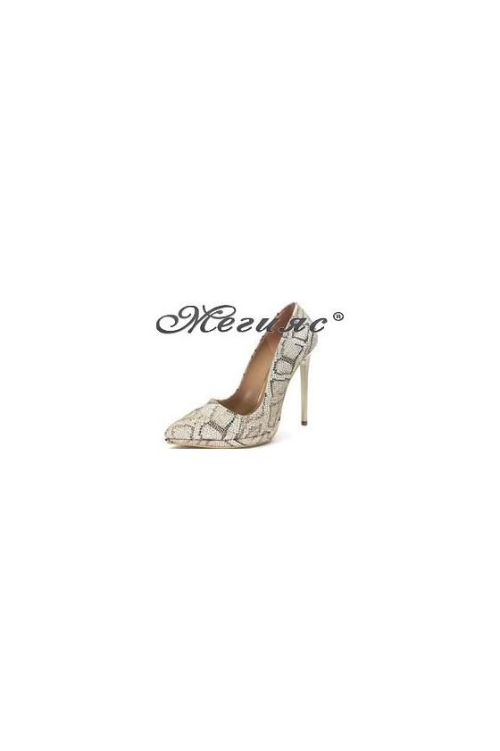 00500 Дамски обувки златен текстил змия елегантни на висок ток