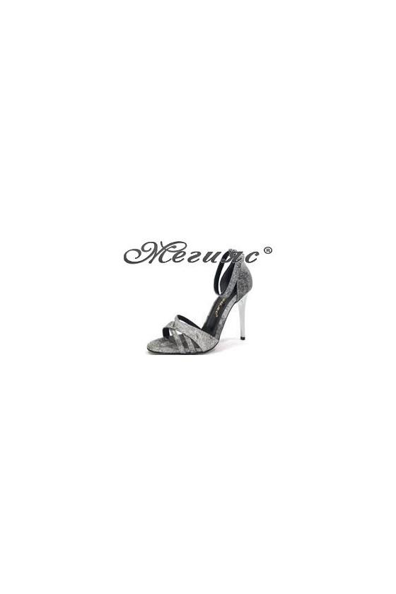 1856  Дамски сандали графит брокат елегантни на висок ток