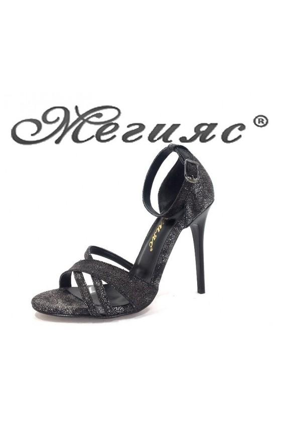 1856 Дамски сандали черен брокат елегантни на висок ток