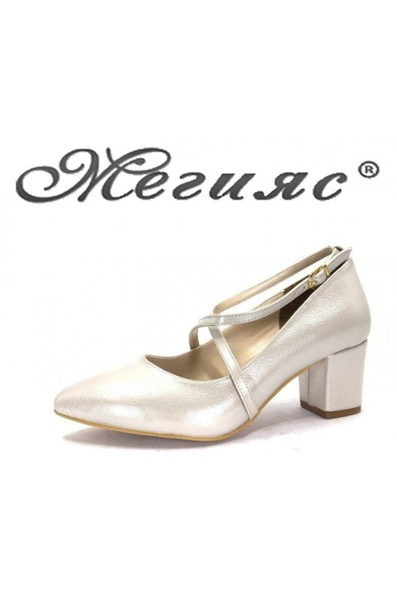 0518 Дамски обувки сиво промазано  елегантни от еко кожа с дебел ток
