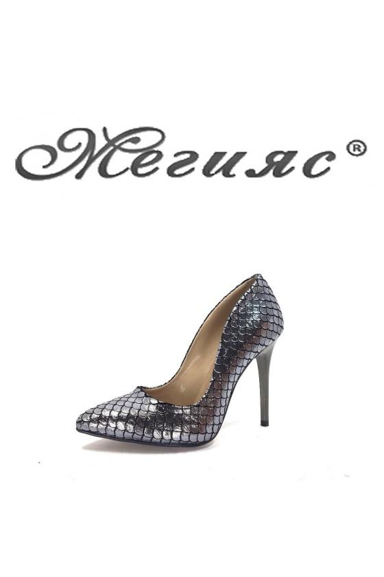 1800 Дамски обувки графит кроко текстил елегантни на висок ток