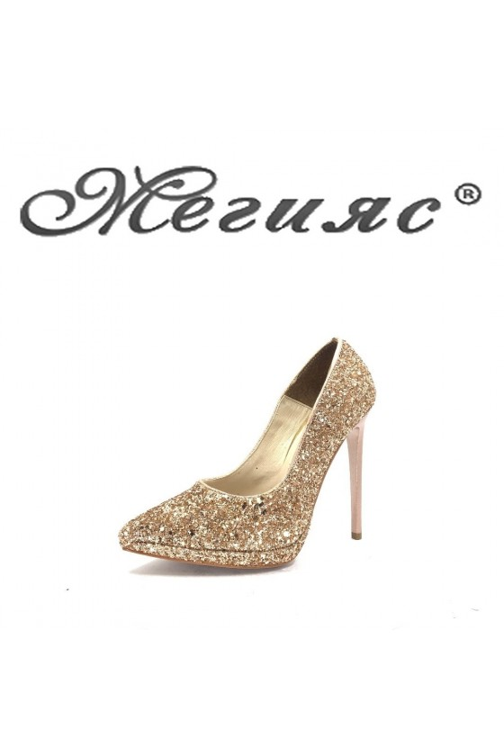 423-0 Дамски обувки бакър брокат елегантни на висок ток