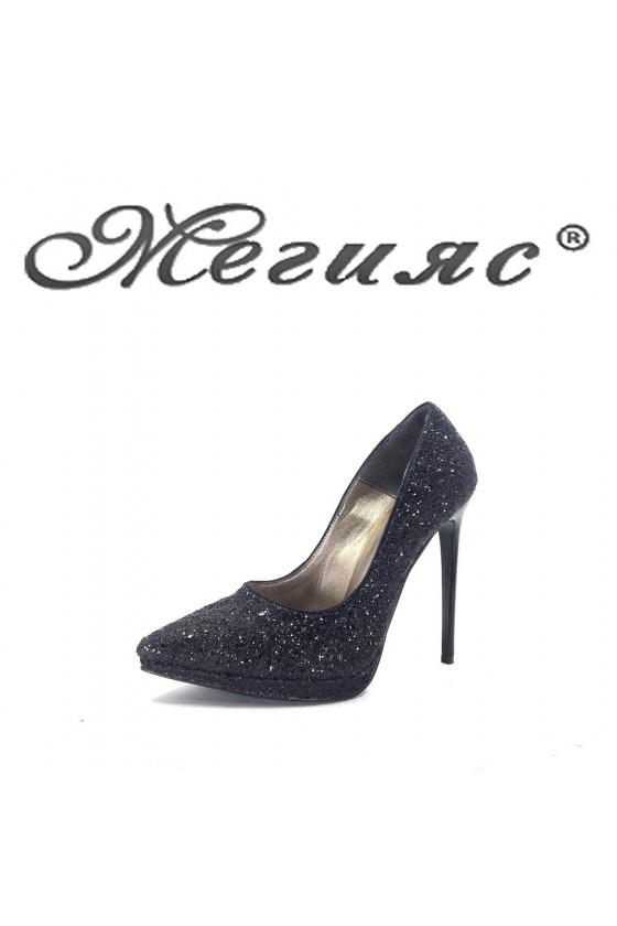 423-0 Дамски обувки черен брокат елегантни на висок ток