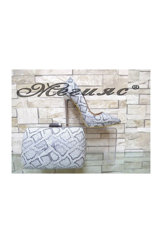 00500 Lady elegant shoes silver with bag 5557