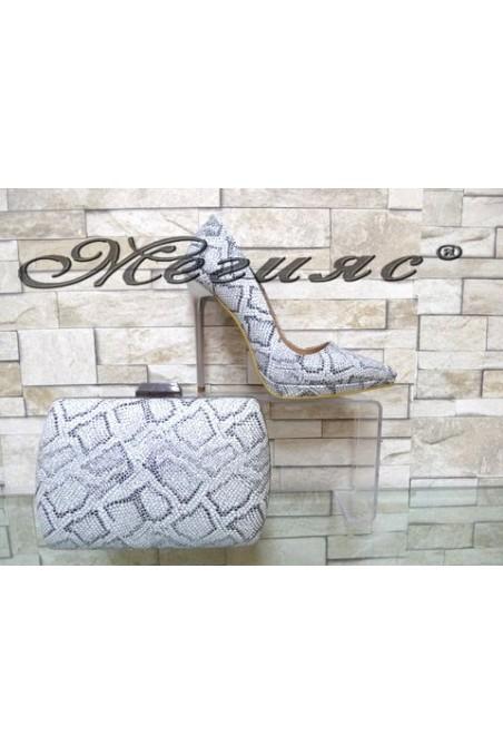 00500 Комплект дамски елегантни обувки сребристи с чанта 5557