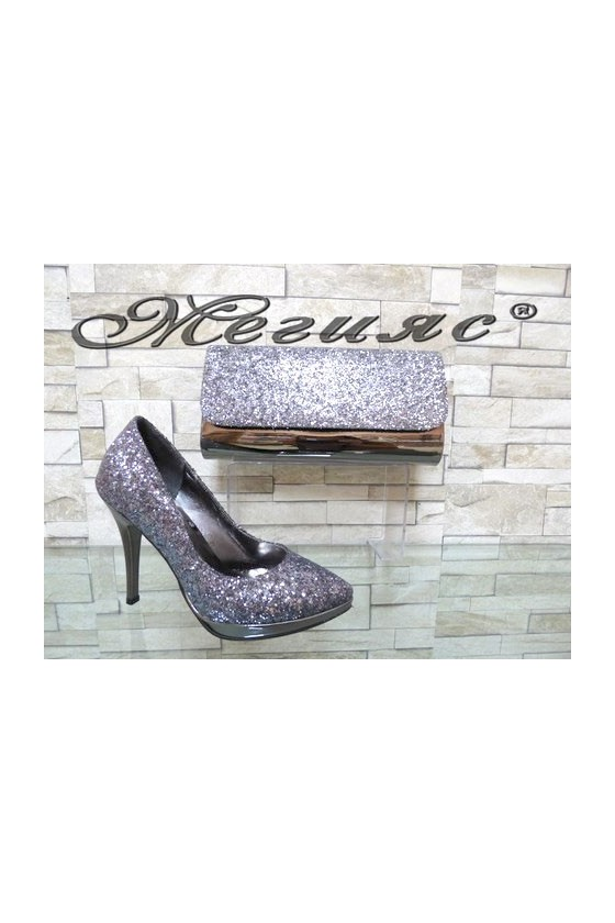 0519 Lady elegant shoes dk.silver with bag 519