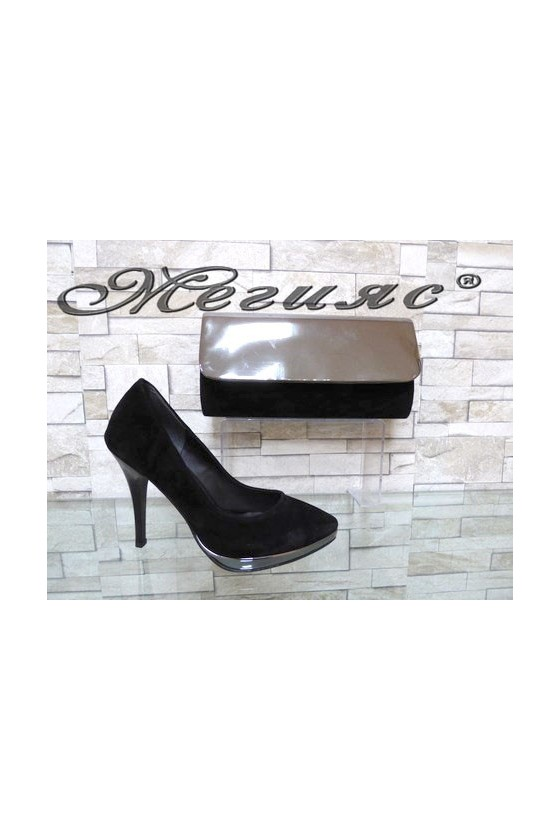 0519 Lady elegant shoes black suede with bag 519