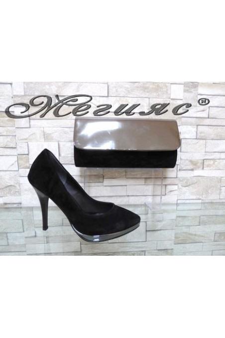 0519 Комплект дамски елегантни обувки черен велур с чанта 0519