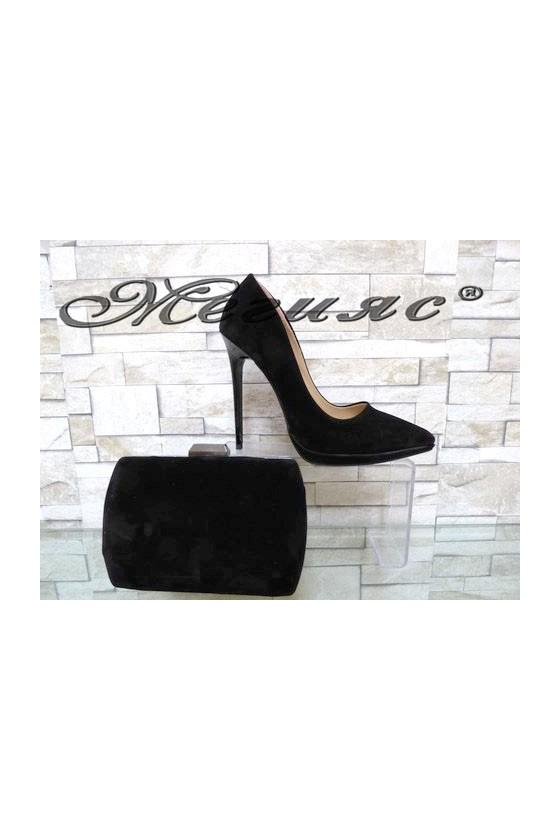 00500 Комплект дамски елегантни обувки черен велур с чанта 5557