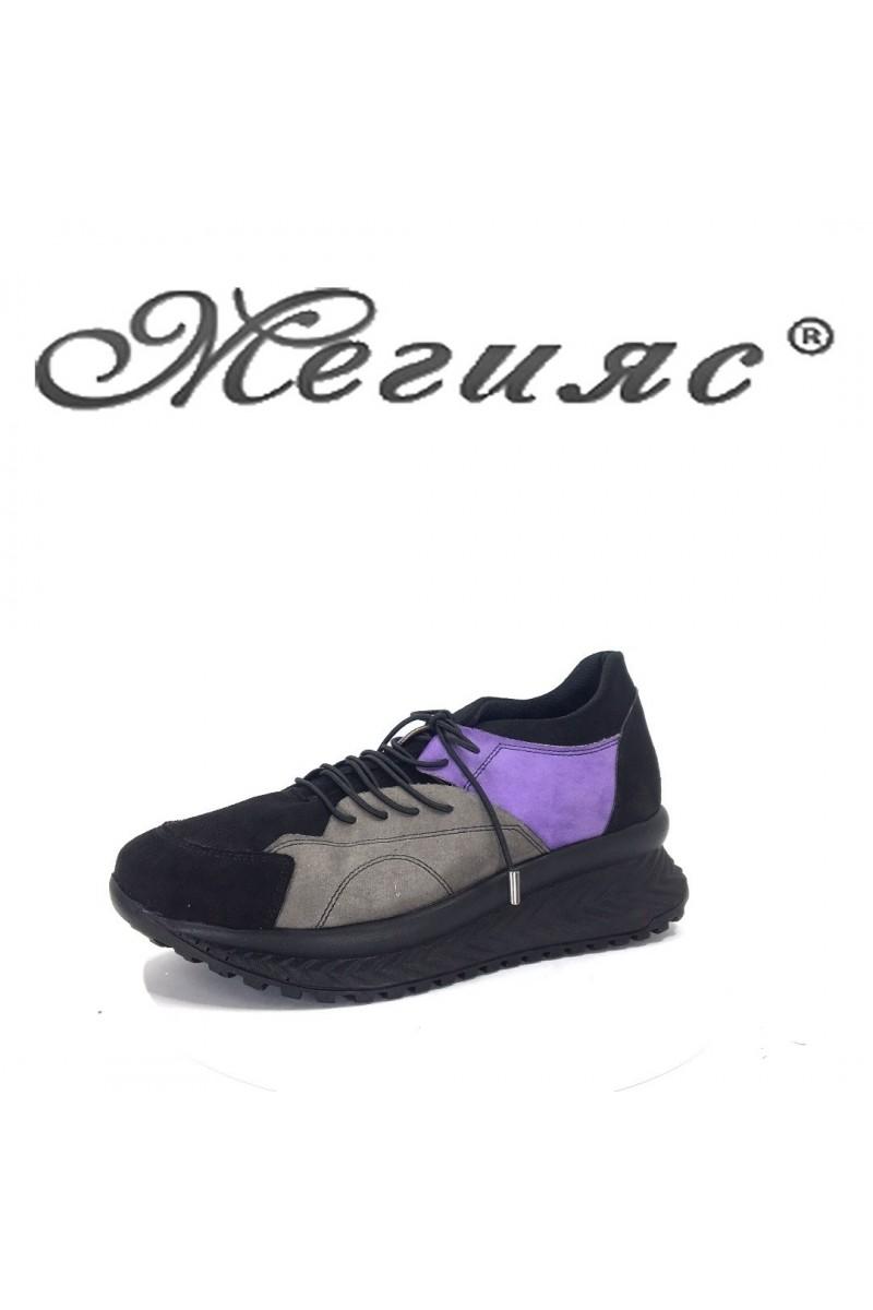 2003-03 Дамски спортни обувки черно с лилаво тип маратонки
