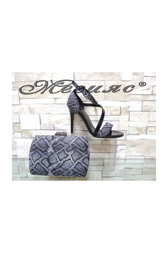 1857 Lady elegant sandals black snake with bag 5557