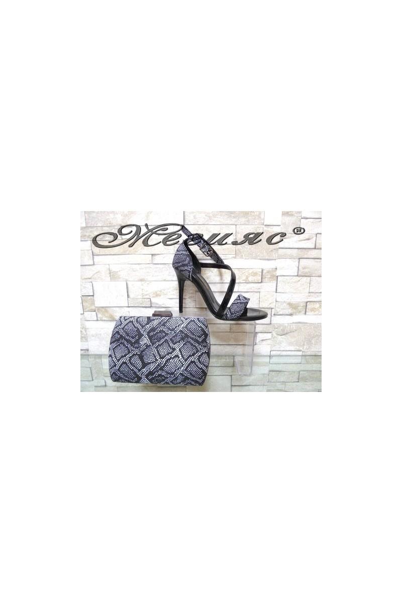 1857 Комплект дамски елегантни сандали графит с чанта 5557