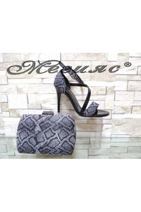 1857 Комплект дамски елегантни сандали черни с чанта 5557