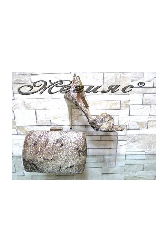 1856 Комплект дамски елегантни сандали златисти брокат с чанта 5557