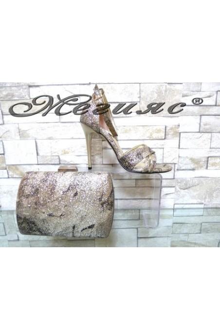 1856/1476 Комплект дамски елегантни сандали златисти брокат с чанта 5557
