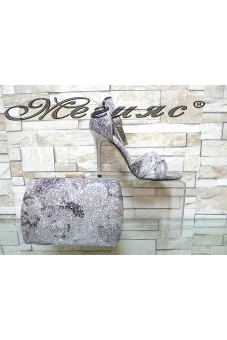 1856/1476 Комплект дамски елегантни сандали сребристи брокат с чанта 5557