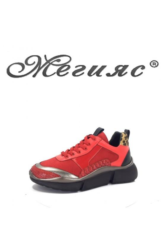 080-M Дамски спортни обувки червени тип маратонки