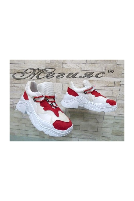 2009 Дамски спортни обувки бяло и червено
