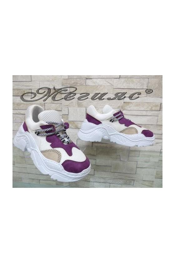 2009 Дамски спортни обувки бели с лилаво