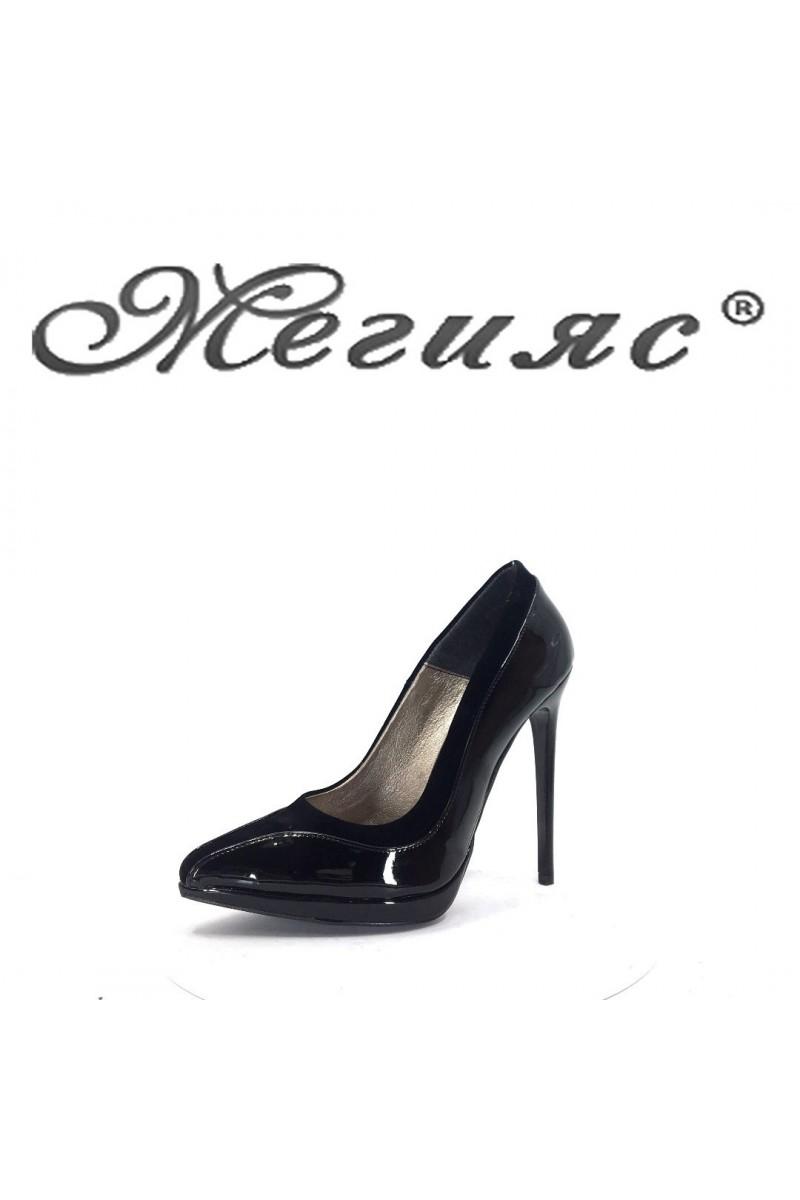 524 Дамски обувки черен лак с велур елегантни на висок ток