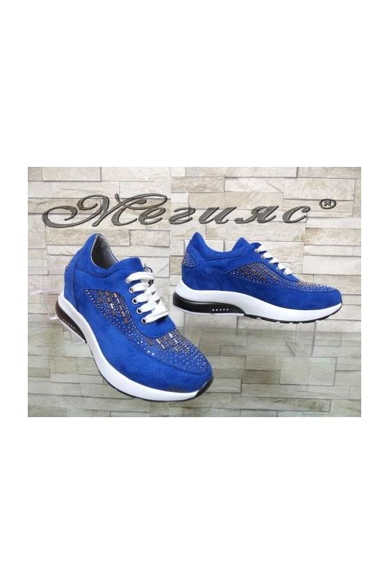 508 Lady sport shoes blue suede