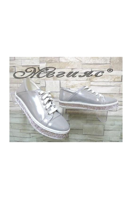 35 Lady sport shoes silver pu