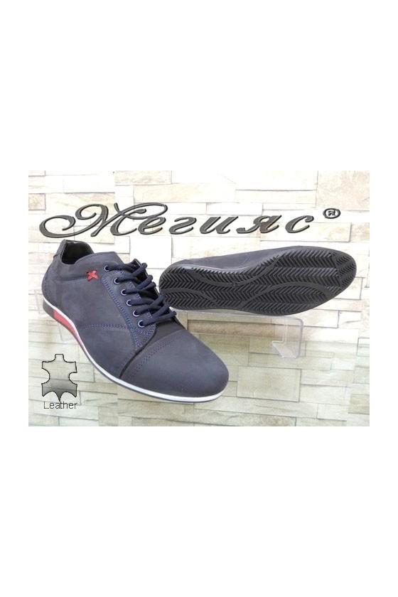 Мъжки спортни обувки набук сини  Фантазия 803