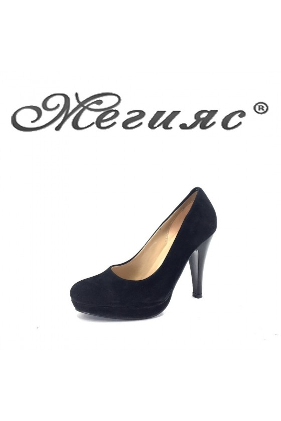 Дамски обувки черен велур заоблени  520