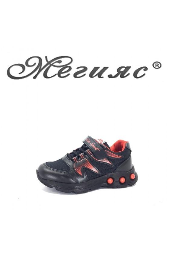 005115 Детски маратонки черно с червено от еко кожа