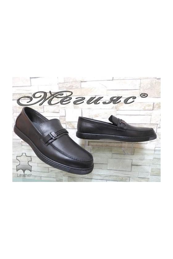 500 Мъжки обувки черни мат XXL гигант от естествена кожа