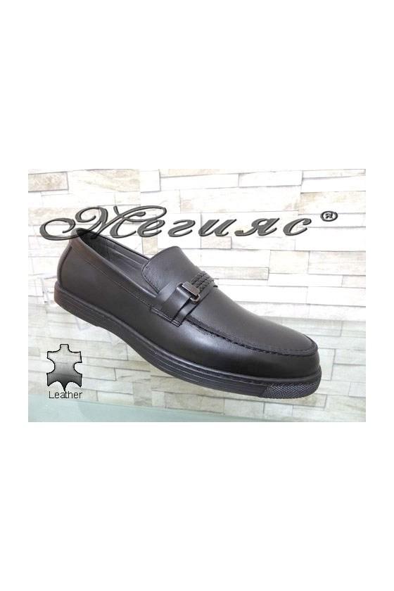Мъжки обувки големи номера черни мат от естествена кожа 500