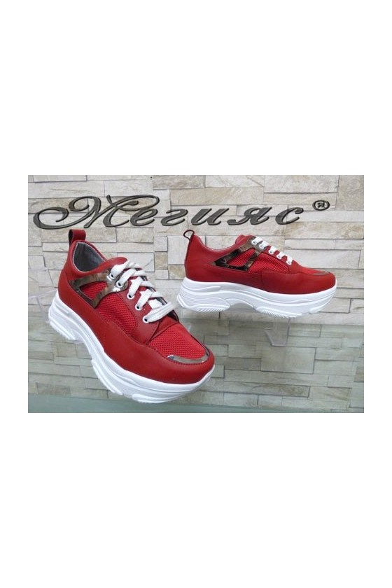 949 Lady sport shoes red pu