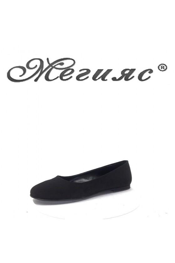 101 Дамски обувки черен велур равни