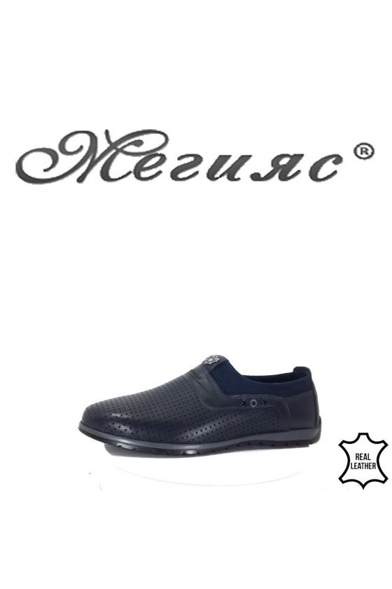722-014 Мъжки обувки Фантазия сини естествена кожа
