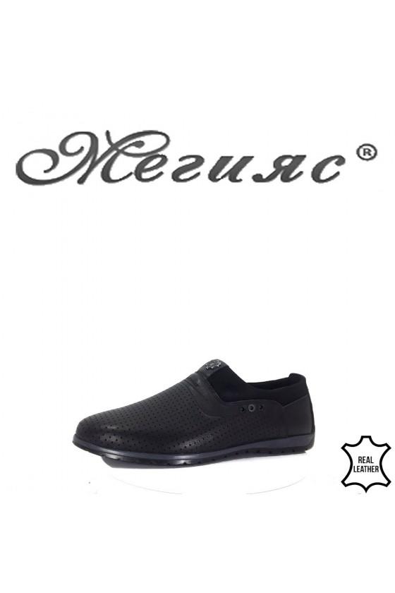 722 -014 Мъжки обувки Фантазия черни естествена кожа