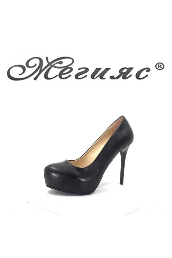019 Дамски обувки  черни с висок ток и платформа