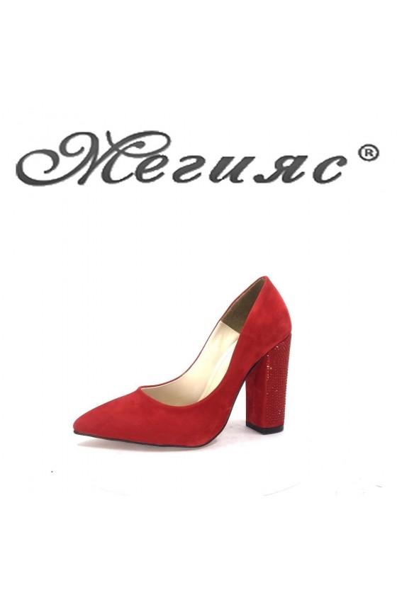 0542 Дамски обувки черен велур елегантни на висок ток