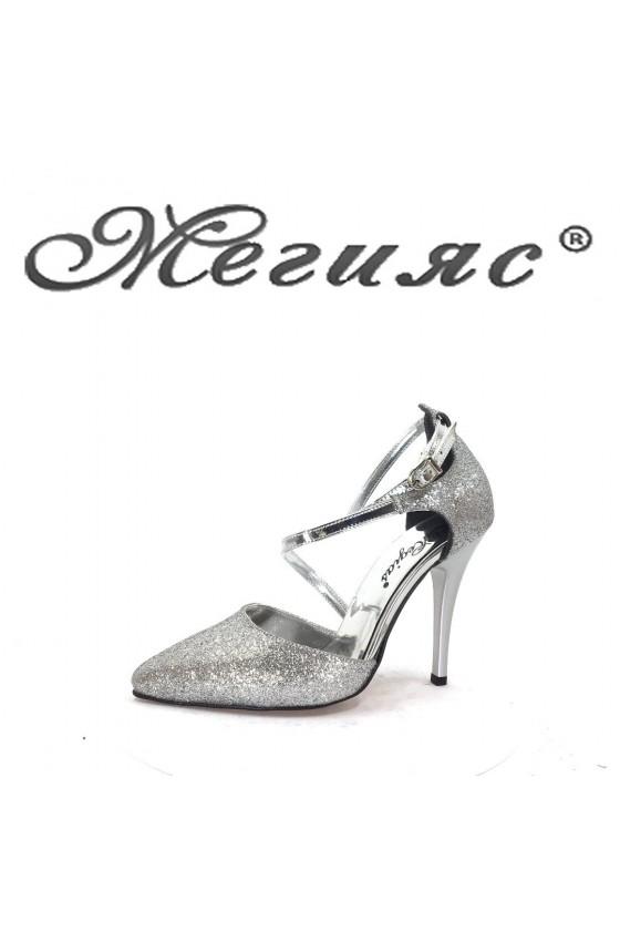 001163 Дамски обувки сив брокат елегантни с тънък ток
