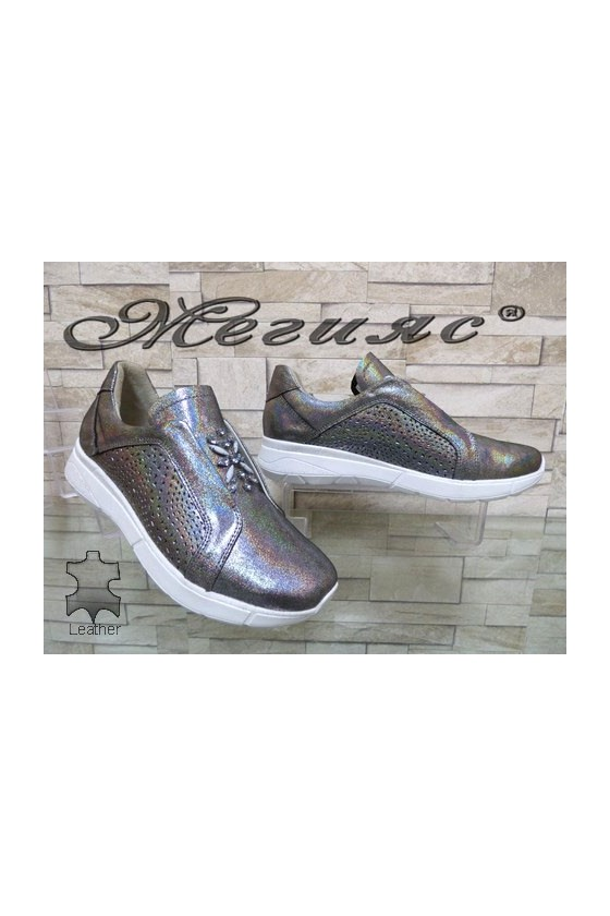 115-68 Lady sport shoes dark silver leather