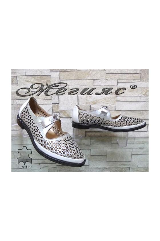 14-М Дамски обувки сребристи от естествена кожа