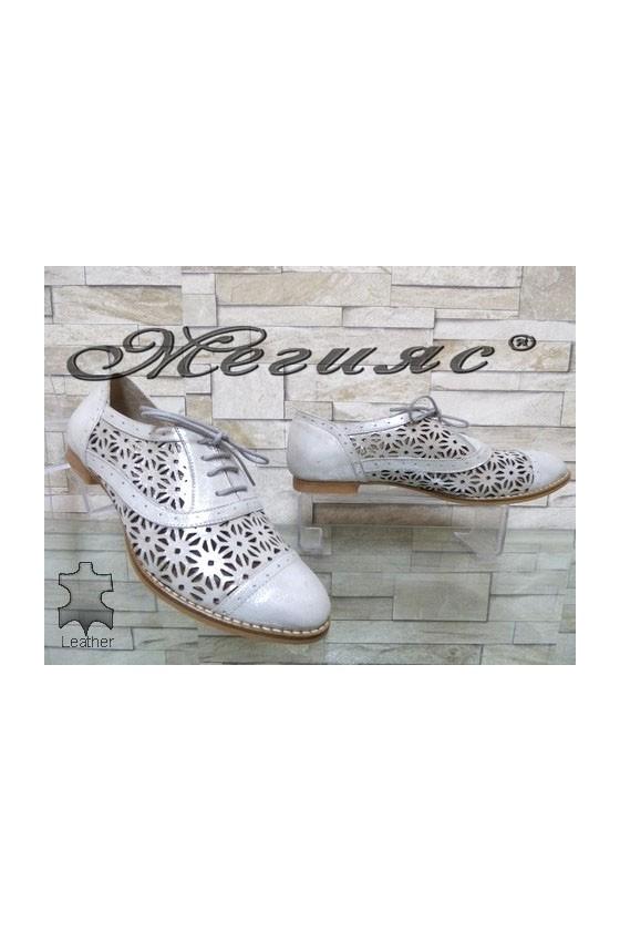 658-598 14-М Дамски обувки сребристи от естествена кожа
