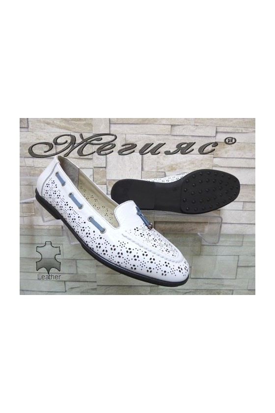 702-10 Women shoes white leather