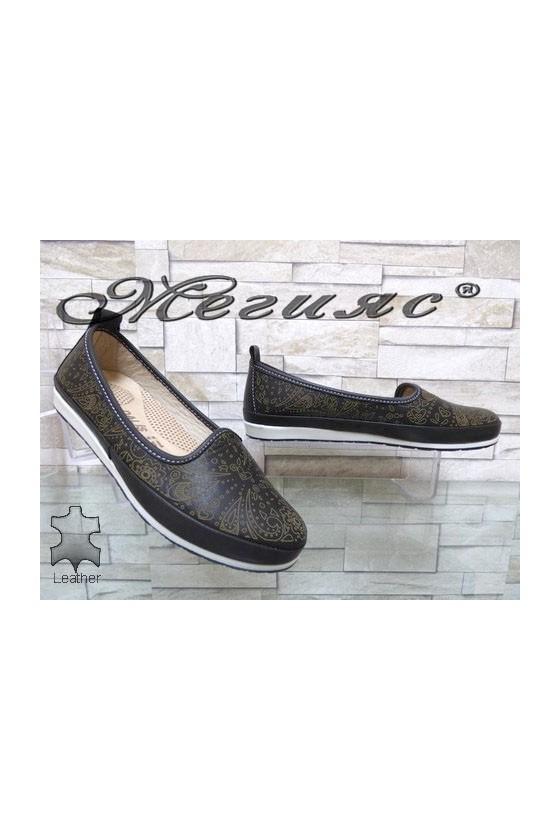 802 Дамски обувки черни от естествена кожа ежедневни
