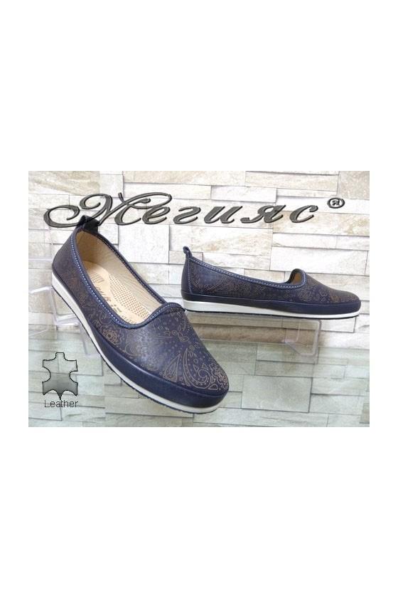 802 Дамски обувки сини от естествена кожа ежедневни