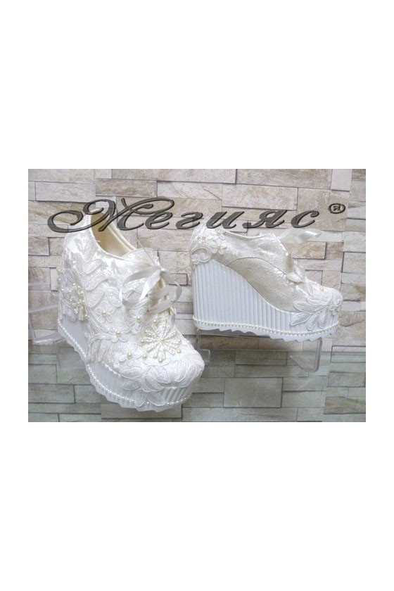 710-11 Lady platform shoes white pu