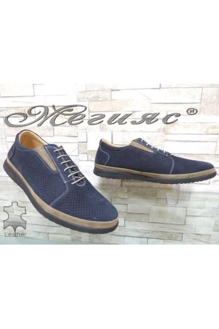 848 XXL Мъжки обувки гигант сини от естествен набук с перфорация